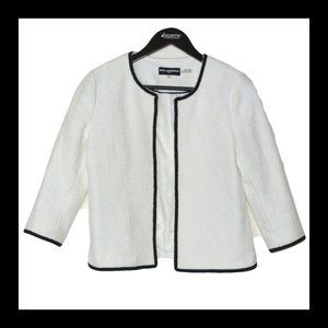 KARL LAGERFELD White Tweed Black Trim Blazer 6